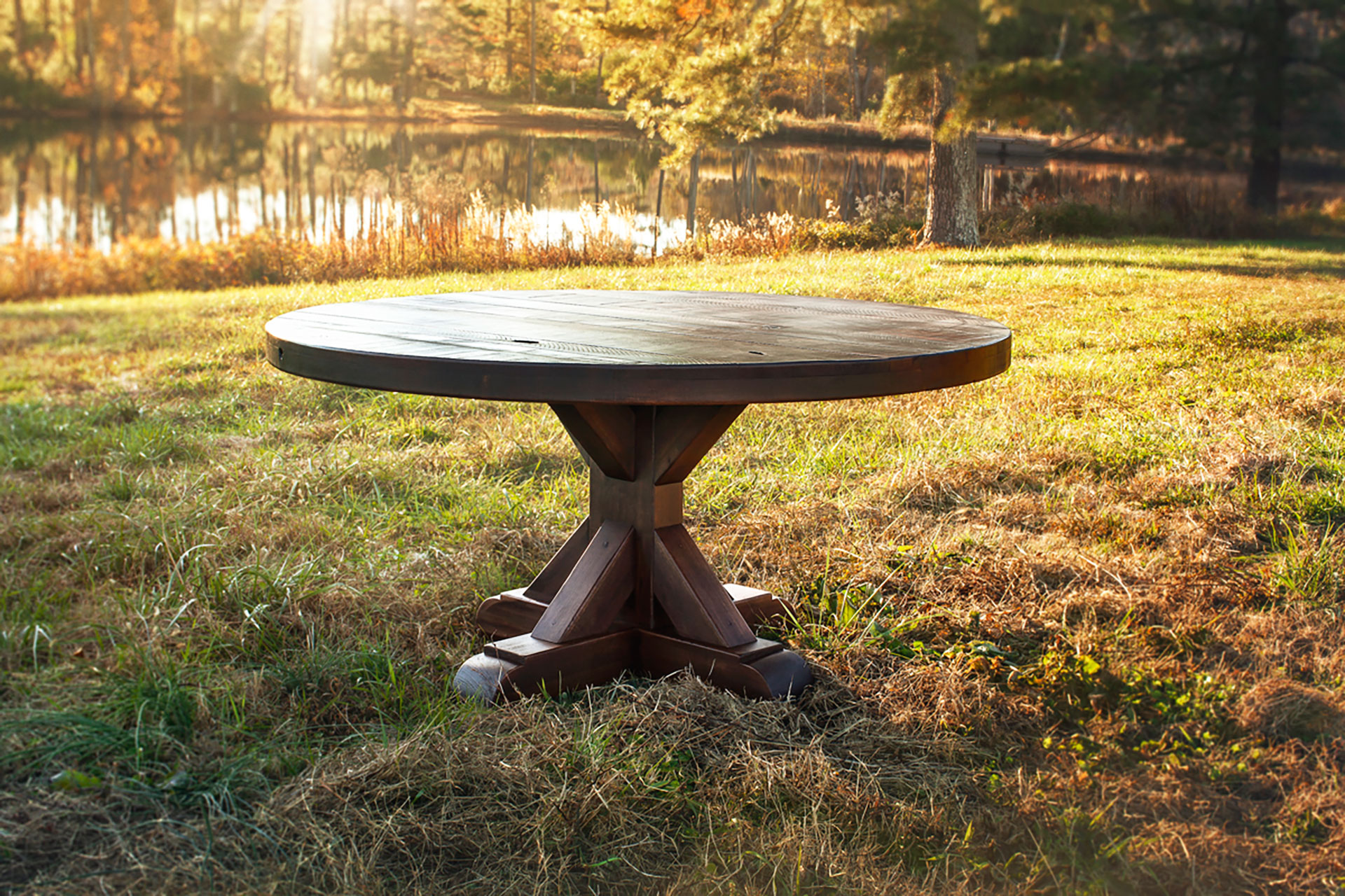 the jameson pedestal rustic round kitchen table The Jameson Pedestal
