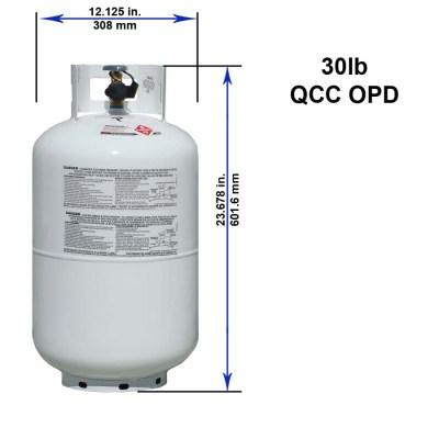 30 pound 7 gallon LP Propane Tank with Dimensions for RV