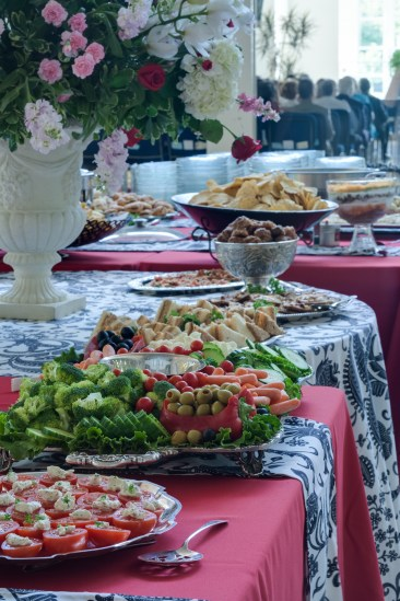 The buffet of tomatoes, broccoli, carrots, olives, hand made sandwiches, chips, dip, cookies, and much more