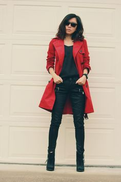 red trench coat outf