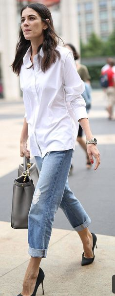 Jeans, white shirt,