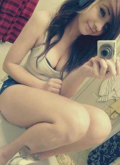 blonde selfie gym pants strip