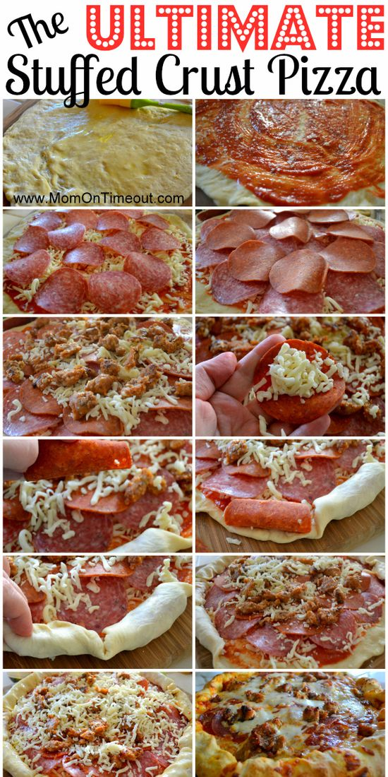 The Ultimate Stuffed Crust Pizza   Mom On Timeout #dinner #recipe