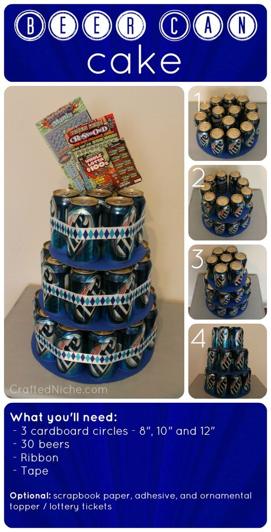 "beer can ""cake"" what a great idea for guy birthdays just use their fav"