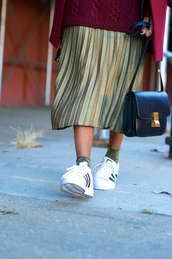 gold metallic pleated skirts: