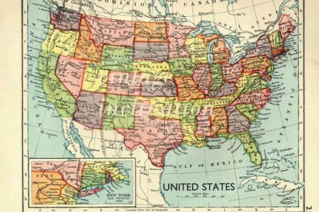 usa map 1930s vintage united states map. map decor, office