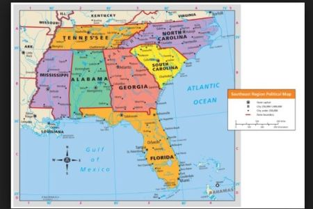 map of the southeast region of the united states. write
