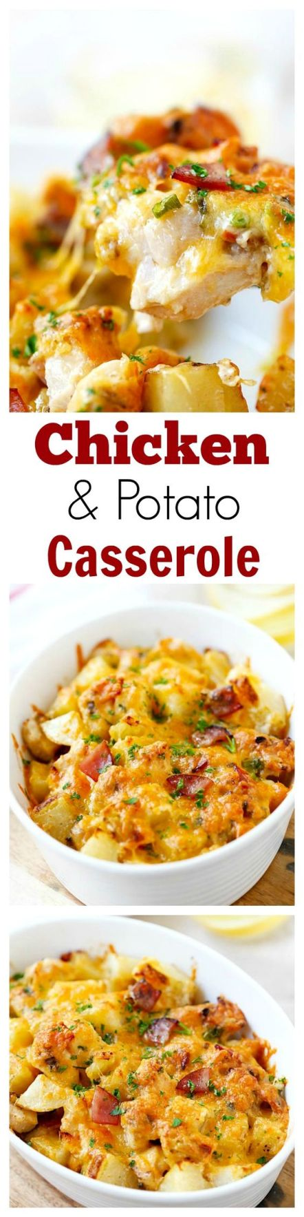Baked Chicken and Potato Casserole - crazy delicious chicken potato casserole loaded with cheddar cheese, bacon and cream, easy recipe for the family | rasamalaysia.com: