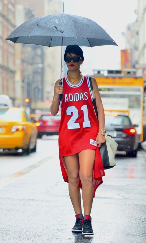 The only other person besides Beyoncé who can get away with a jersey and no pants? Rihanna. Obviously.: