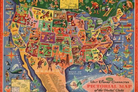 walt disney character pictorial map of the united states