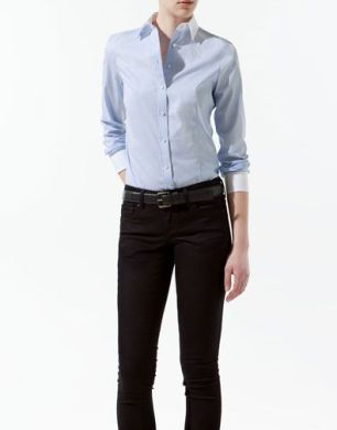 SHIRT WITH COMBINED COLLAR AND CUFFS - Shirts - Woman - ZARA: