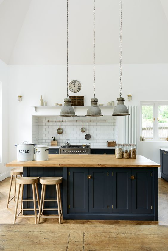 A lovely big island by deVOL with oiled oak worktops to match our weathered oak stools: