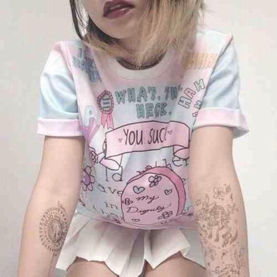 t-shirt pastel grunge soft grunge pink kawaii kawaii grunge jumpsuit sweater funny pastel goth pink cool: