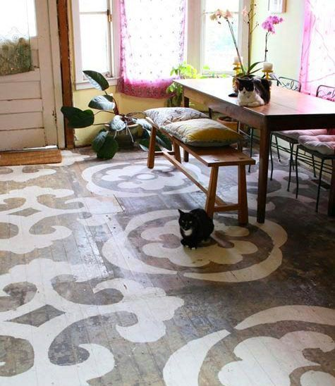 There's a kitchen floor that I know, that's covered in horrible tile and would get a facelift on a tiny little budget. I'd demo that tile and stencil right on the subfloor to get me through, if that were my kitchen floor. Might look something like this when it's done. @Ashleigh DeBrunner: