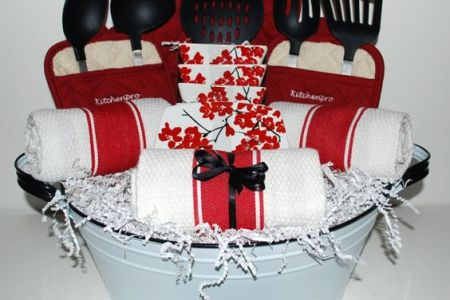 kitchen essentials gift basket idea. perfect housewarming