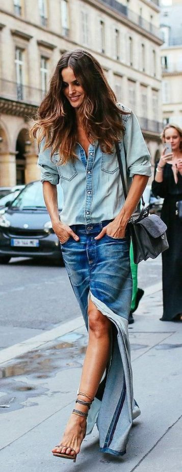 Izabel Goulart's denim on denim look for Couture fashion week: