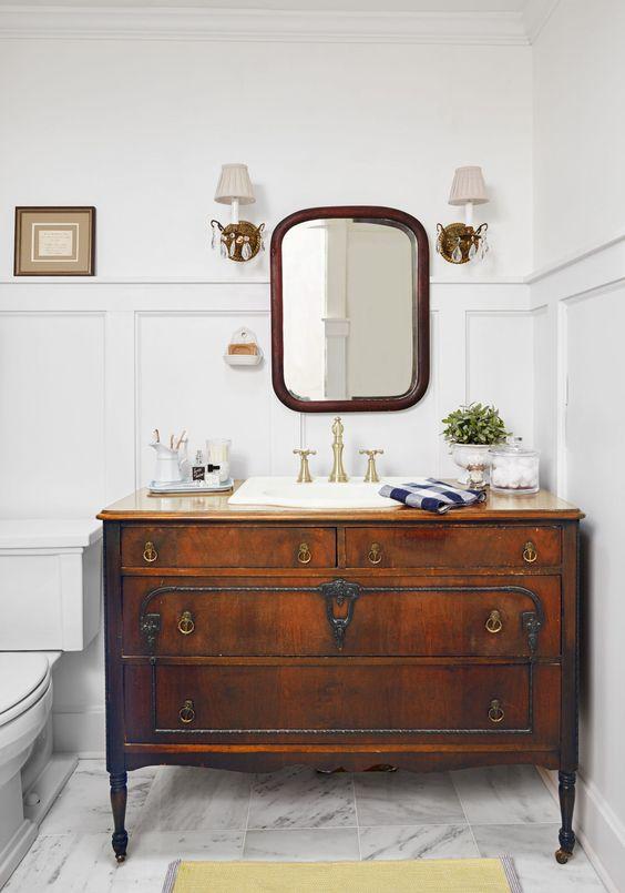 dresser turned bathroom vanity: