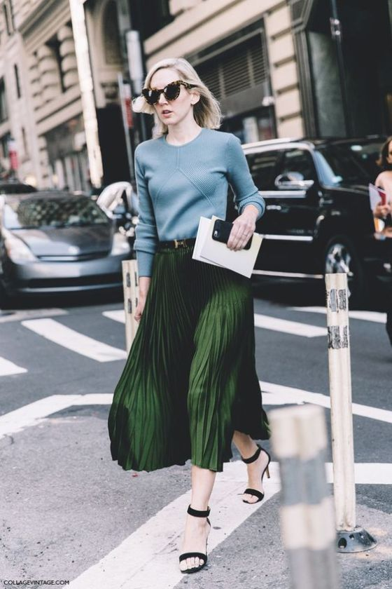 New_York_Fashion_Week-Spring_Summer-2016--Street-Style-Green_Midi_pleated_Skirt: