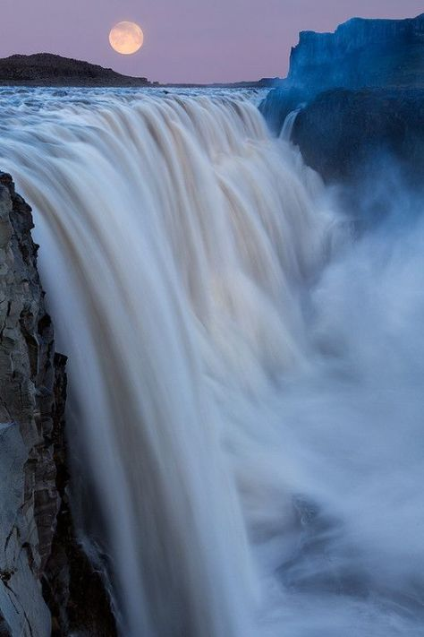A super moon over the most powerful waterfall in Europe, Dettifoss, Iceland.- Most surreal places to visit- Part 3