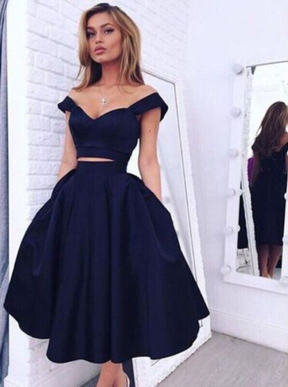 Vintage Style A-line Two-piece Black Homecoming Dress,Evening Dress,2 piece homecoming dresses: