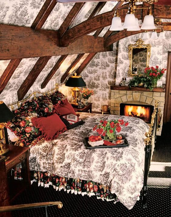 English cottage bedroom. So inviting!:
