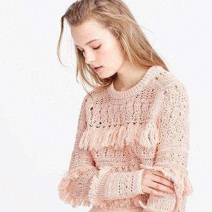 "A textured take on the classic crewneck sweater. It features fringe, 10 different types of stitches and hand-crocheted sleeves. Worn with jeans and flats or dressy pants and heels, it's the perfect every-occasion style. <ul><li>Slightly oversized fit.</li><li>Hits slightly below hip.</li><li>Body length: 21"".</li><li>Cotton/linen/poly.</li><li>Dry clean.</li><li>Import.</li><li>Online only.</li></ul>:"