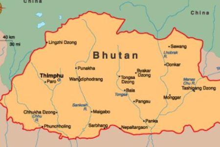 map of bhutan. capital thimphu. languages dzongkha