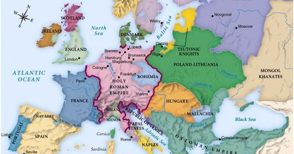 Map of Europe circa 1492     Handbooking Map of Europe circa 1492
