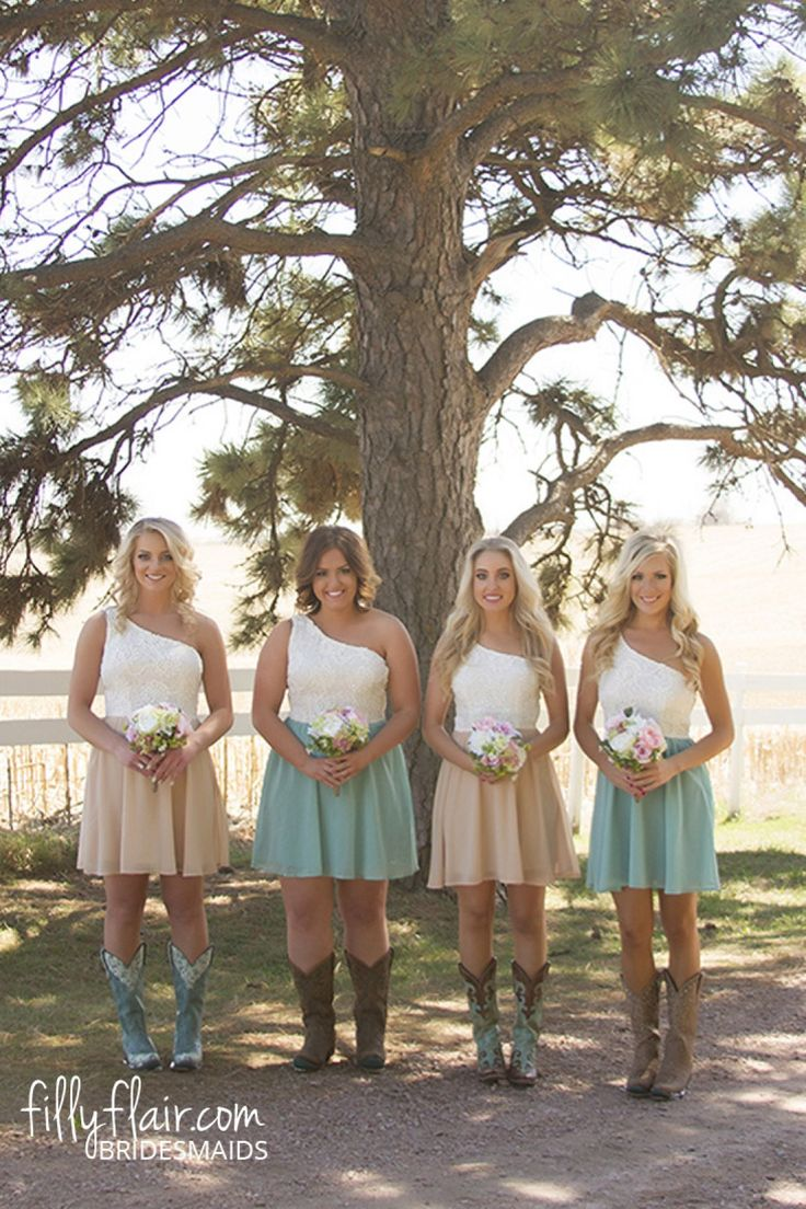 country wedding dresses country girl wedding dresses These country bridesmaid dresses with boots are what you need at your country wedding