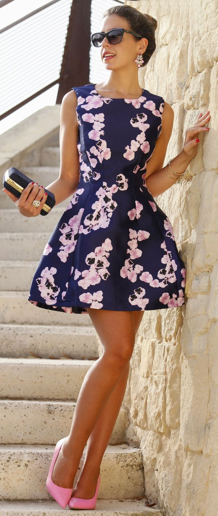 navy cocktail dress cocktail dresses for wedding Orchid Print Fit And Flare Little Dress by 1sillaparamibolso homecoming dress prom dress cocktail dress Wedding