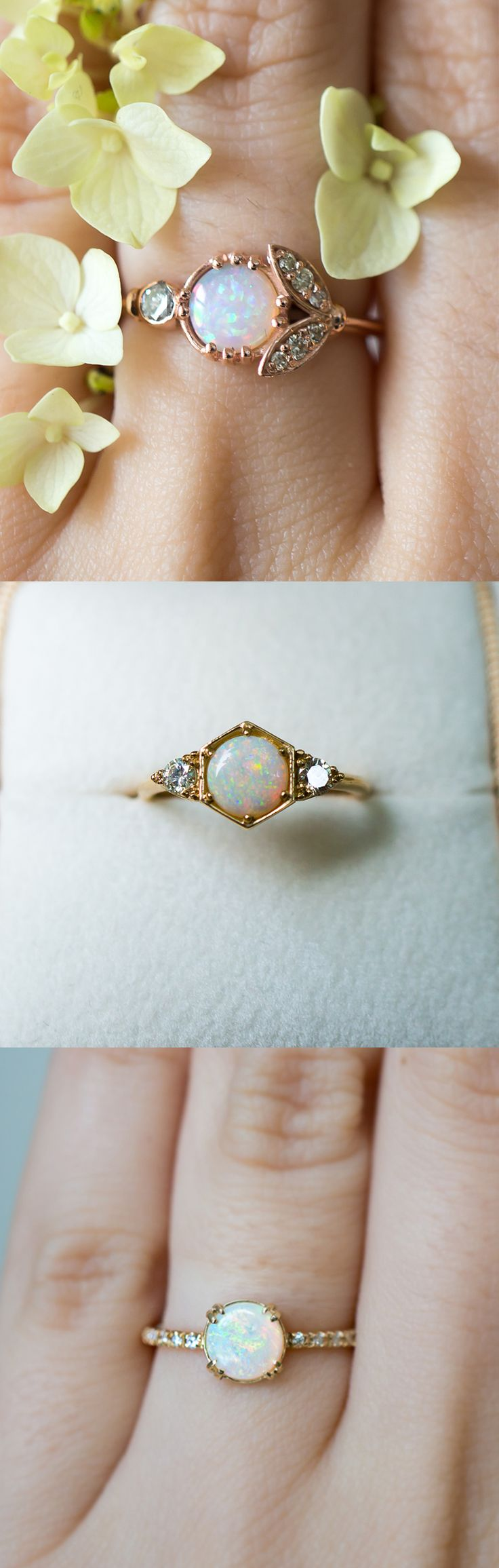 vintage opal rings vintage wedding ring sets Unique vintage inspired Opal engagement rings by S Kind Co