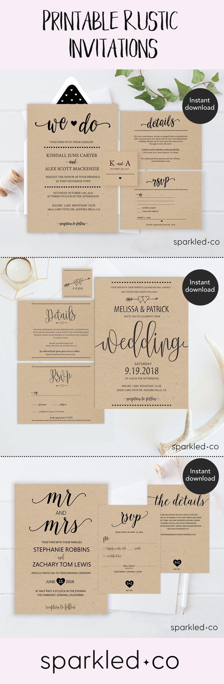 affordable wedding invitations budget wedding invitations Rustic Wedding Invitation Template Wedding Invitation Templates Wedding Cards Cheap Wedding Invitations Printable Wedding Invitations