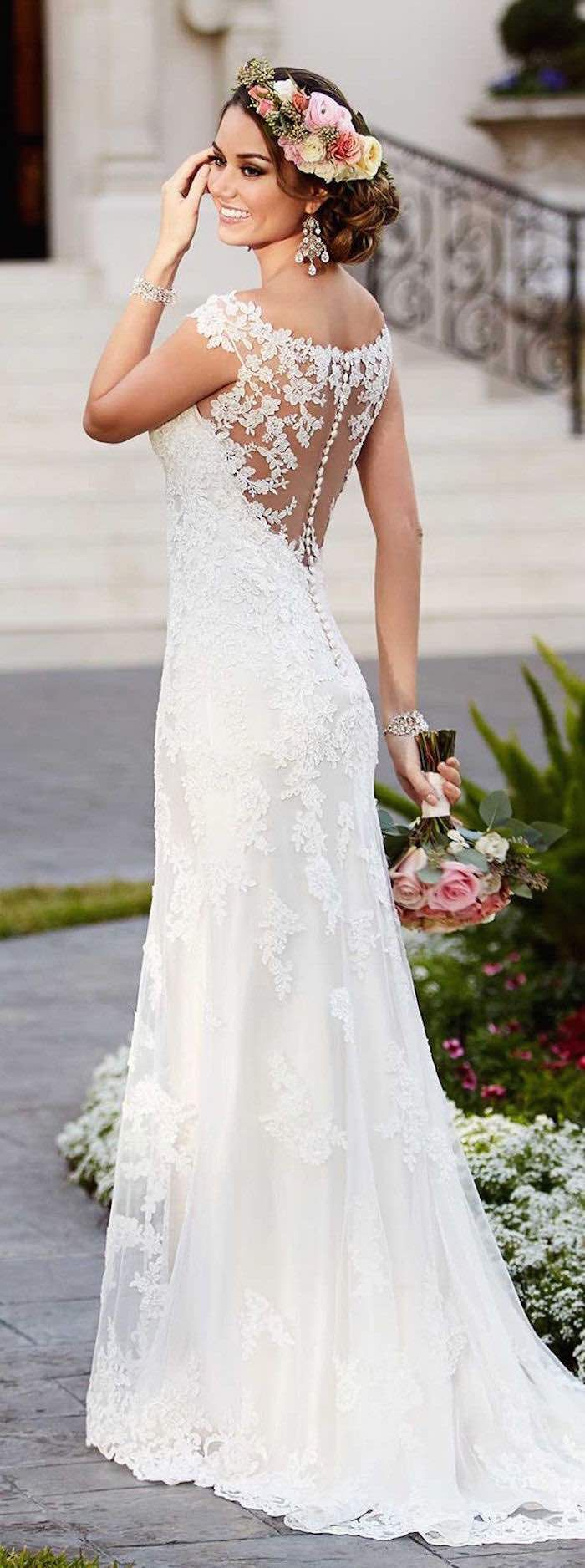 southern wedding dresses summer dresses wedding Gorgeous Stella York lace wedding dress looks amazing for this summer floral crown Photo via