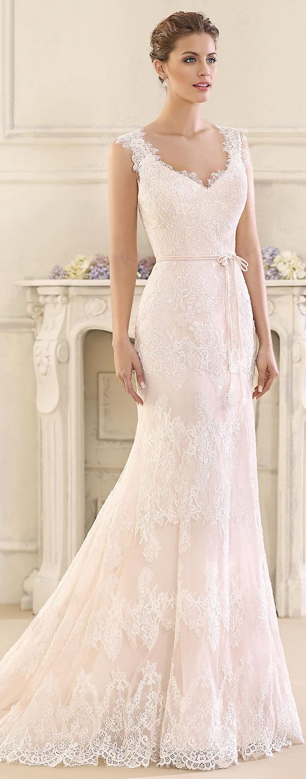 fitted wedding gown sundress wedding dress Blush Lace fitted Wedding Dress by Fara Sposa Bridal Collection
