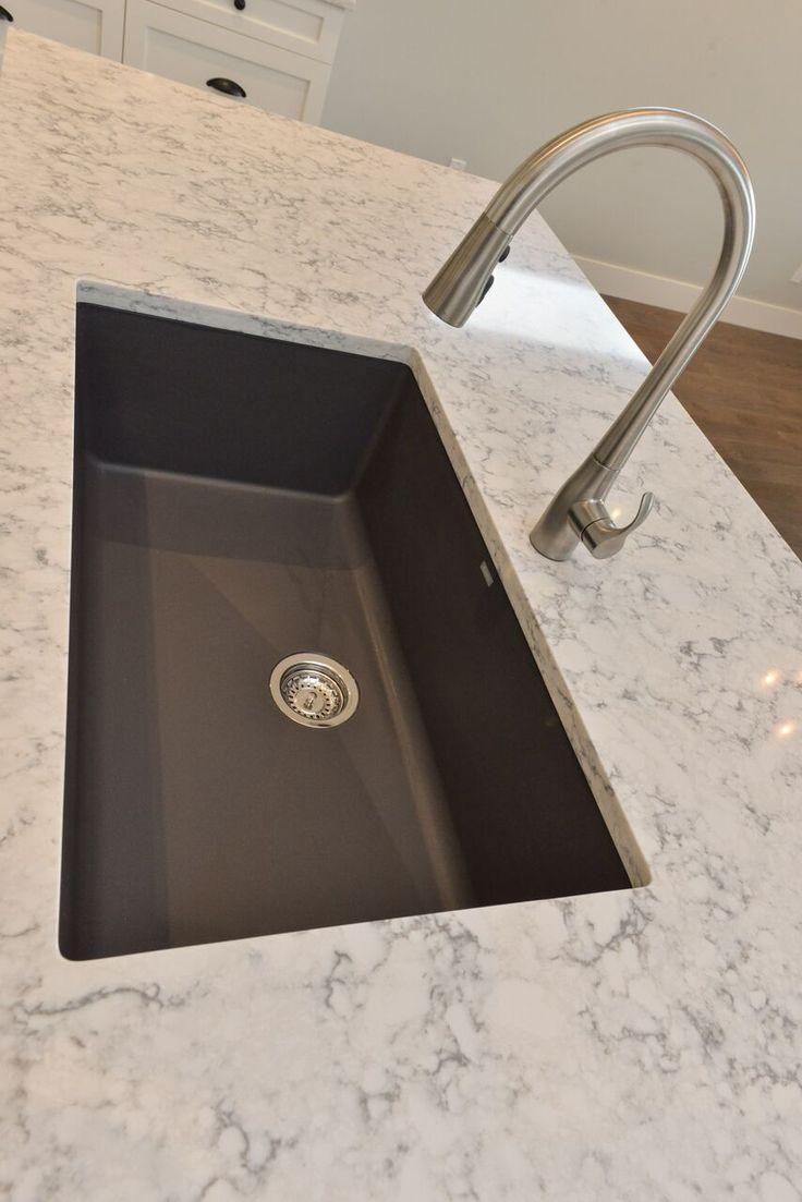 granite kitchen sinks kitchen sinks denver Blanco Silgranite Kitchen Sink in Cidner with Kohler Simplice faucet and Quartz counters in Rococo