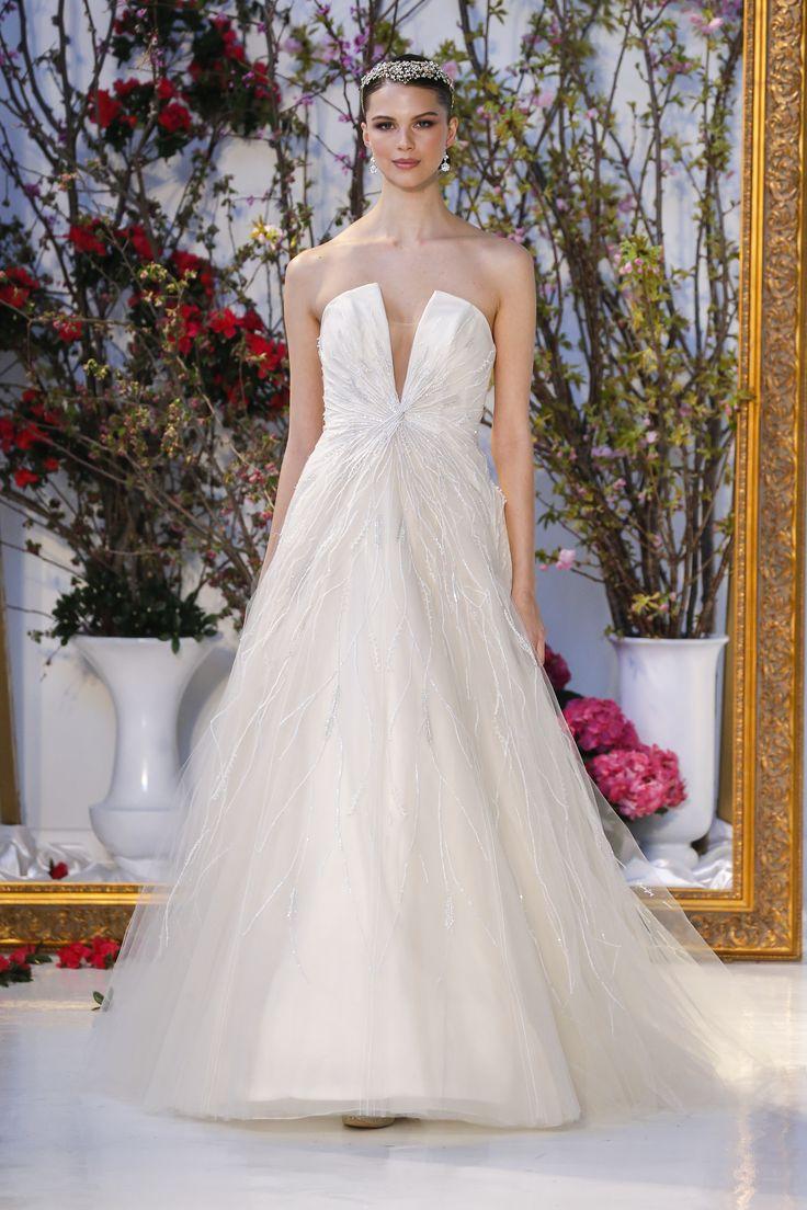 anne barge collection plunge wedding dress WISTERIA Anne Barge Spring Collection Wedding gown with plunging V strapless bodice