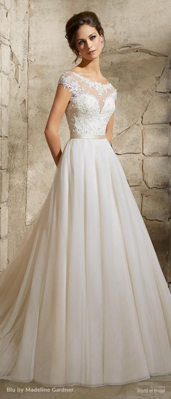 wedding dresses with straps pics of wedding dresses Blu by Madeline Gardner Wedding Dresses