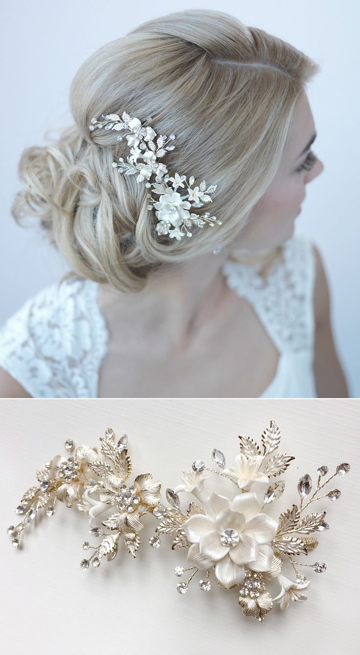bridal accessories wedding dress accessories Gorgeous gold bridal comb with ivory flower petals and gold leaves So beautiful