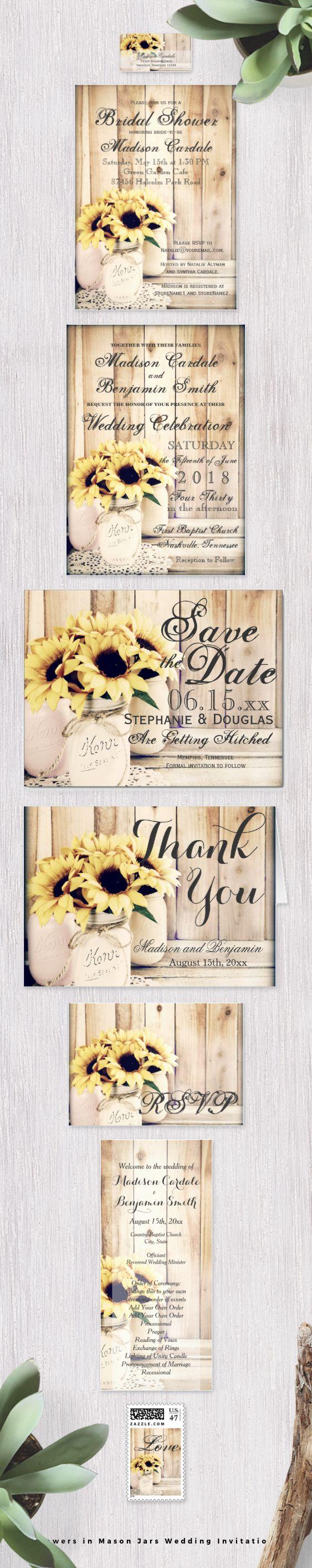 mason jar wedding invitations mason jar wedding invitations Sunflowers in Mason Jars Wedding Invitation Set with bouquets of sunflowers in painted mason jars on