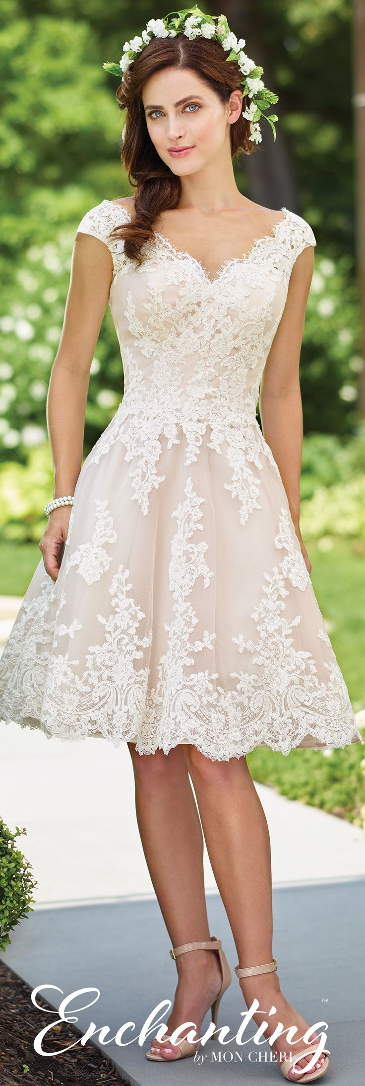 mon cheri bridal short ivory wedding dresses Enchanting by Mon Cheri Spring Wedding Gown Collection Style No lace