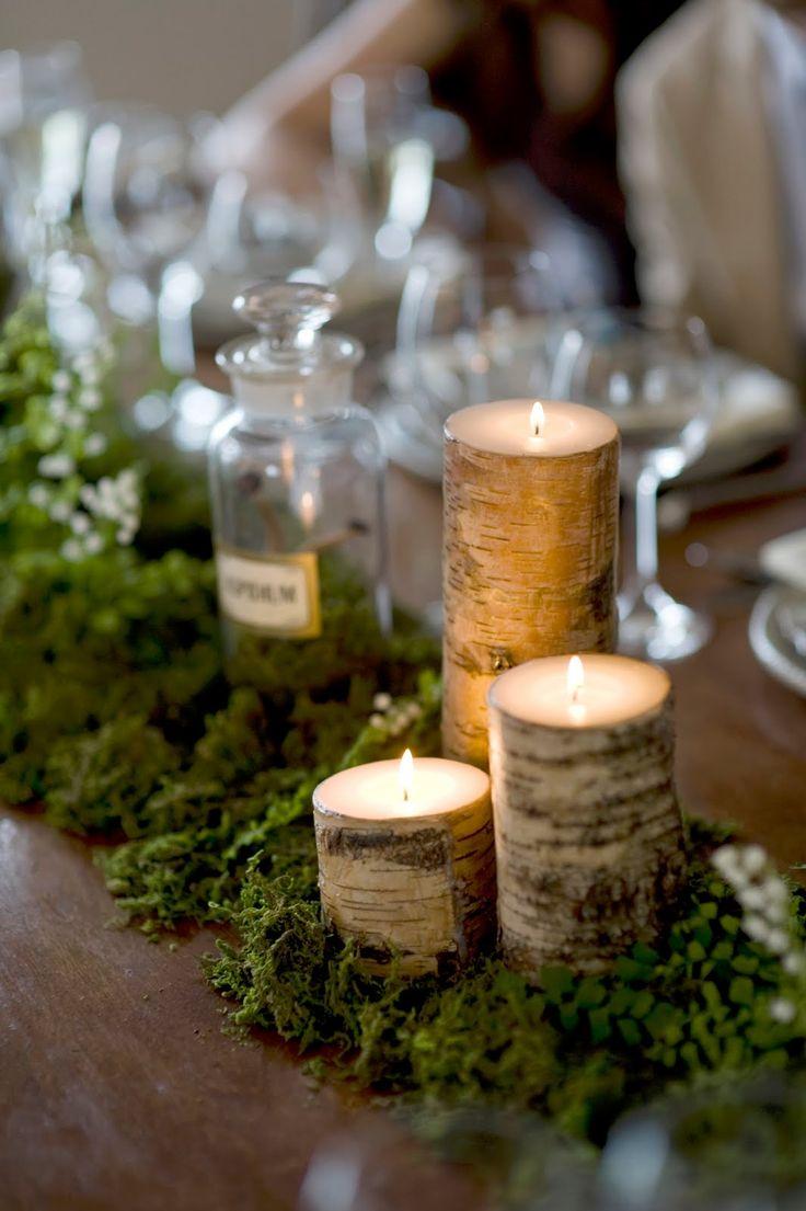 moss table runner wedding table runners Birch bark candles and moss center piece table runner