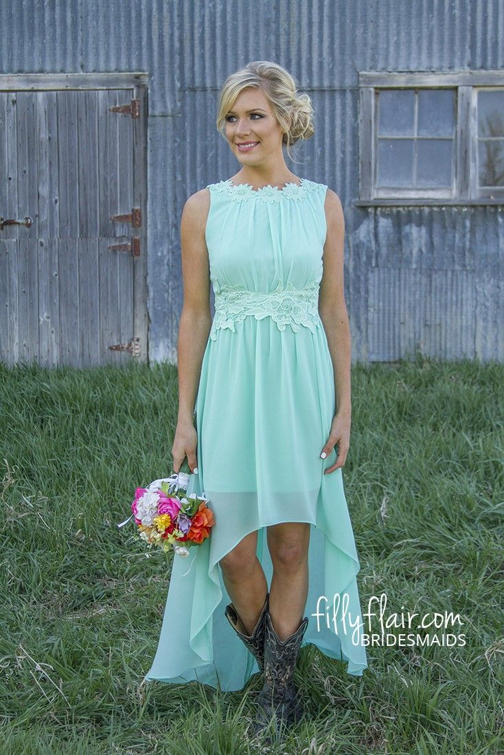 type of wedding id like to have one day high low wedding dresses This adorable form fitting high low flowing sleeveless maxi in mint with the perfect amount of floral embroidered detail in the waist band and collar is the