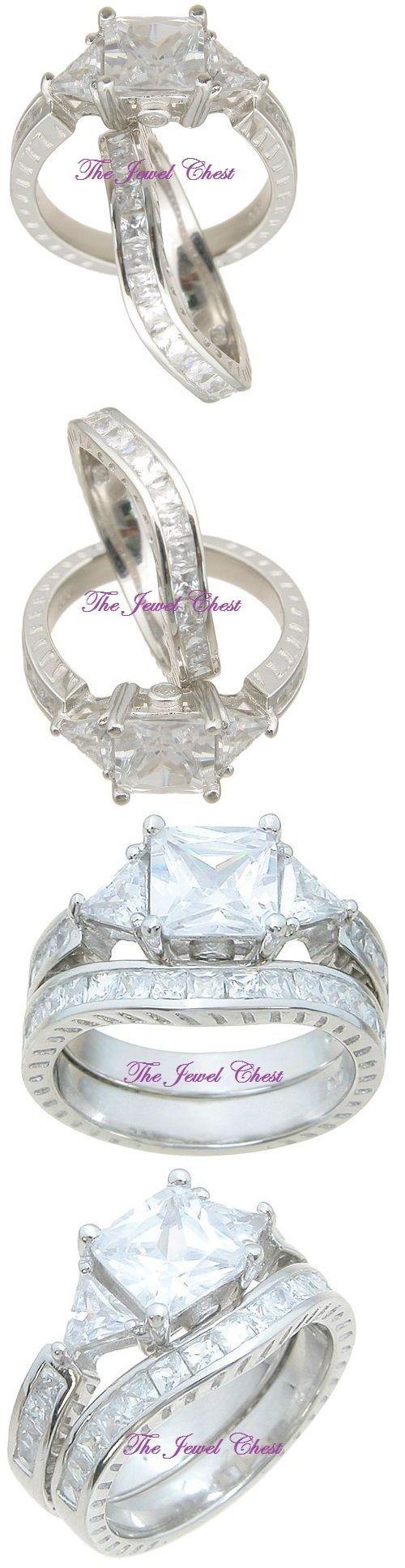 ebay eheringe ebay wedding ring sets Other Wedding Ring Sets 3 50 Ct Princess Trillion Diamond Antique Engagement Ring Set White