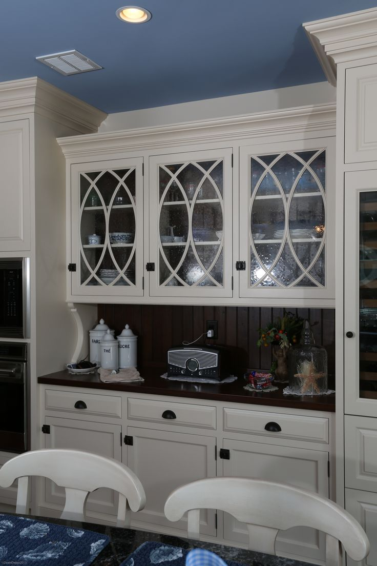 built inhutch kitchen hutch cabinets Contrasting beaded board stained backsplash and cabinet back Stained wood top Located in Longport NJ Kitchen Design by Churchville Kitchen