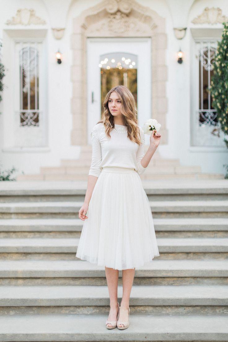 courthouse wedding dress midi wedding dress Millie Sweater Lucy Skirt by Jenny Yoo