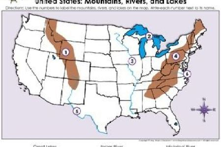 united states map mountains, rivers, and lakes locate