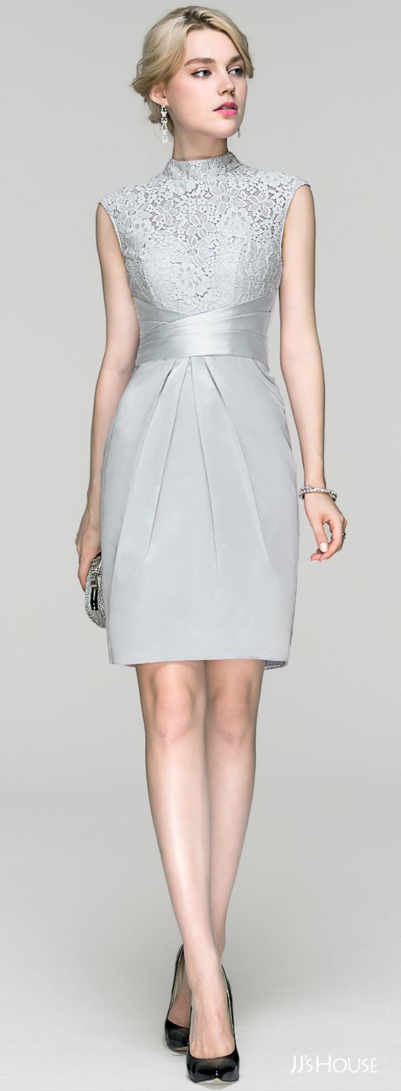 dresses cocktail dresses for wedding Sheath Column High Neck Knee Length Charmeuse Cocktail Dress With Ruffle