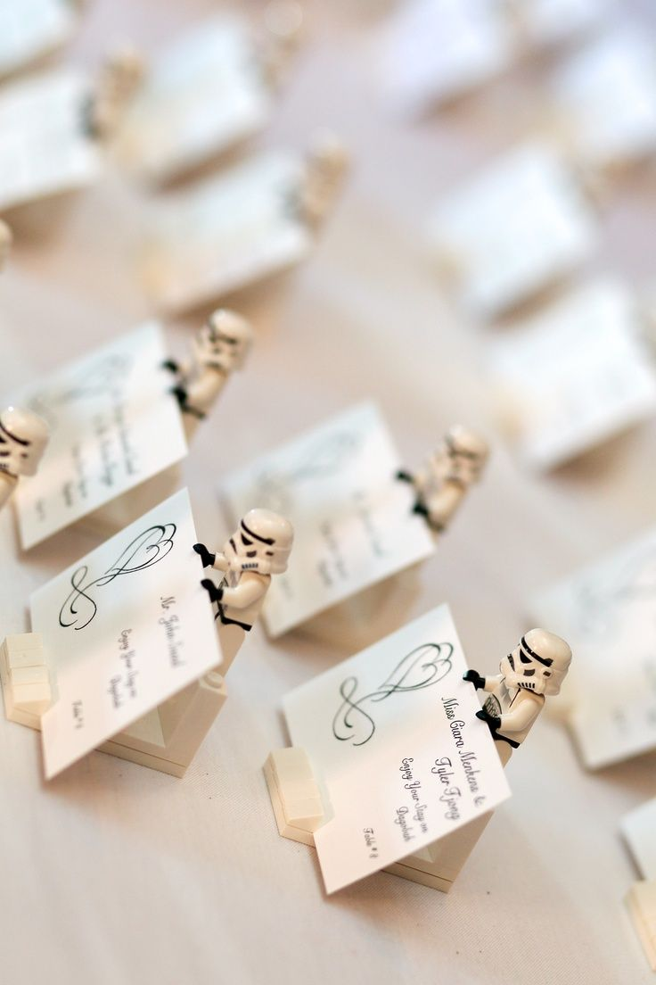wedding place card holders wedding place cards Our Place card Holders made from Lego Stormtroopers miscellaneous lego pieces for a base and