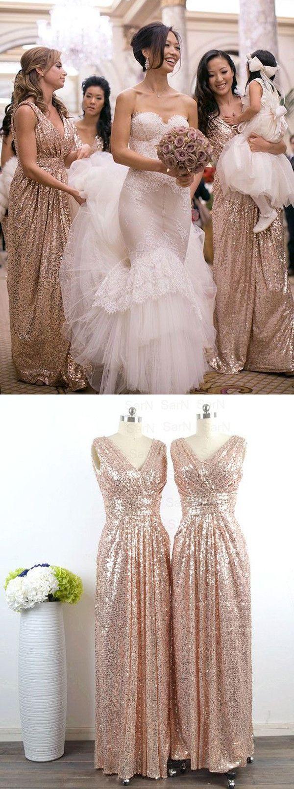 blue gold gold dress for wedding Glamorous V neck Floor Length Sleeveless Sequins Rose Gold Bridesmaid Dress