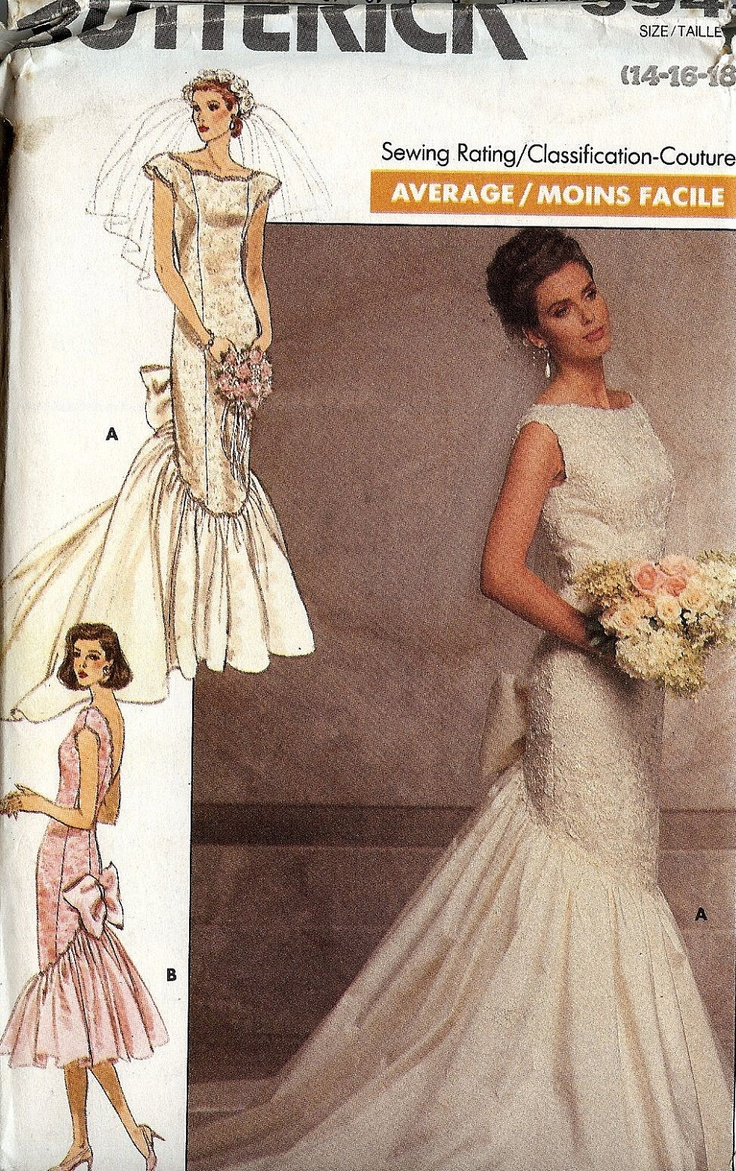 bridal patterns through the years wedding dress sewing patterns PATTERN Butterick Wedding Dress fitted panelled with fishtail and bow Size 14 16 18 s Glamour uncut